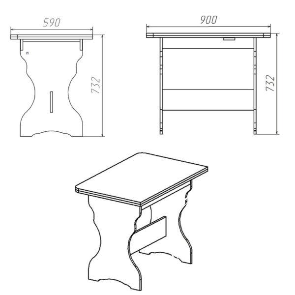 KS 3 Eskiz 600x600 - Стол кухонный КС 3