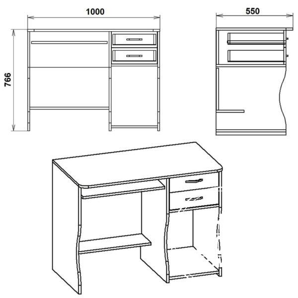 SKM 7 Eskiz 600x600 - Стол компьютерный СКМ 7