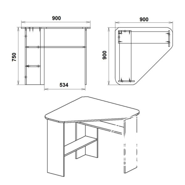 Uchenik 2 Eskiz 600x600 - Стол письменный Ученик 2
