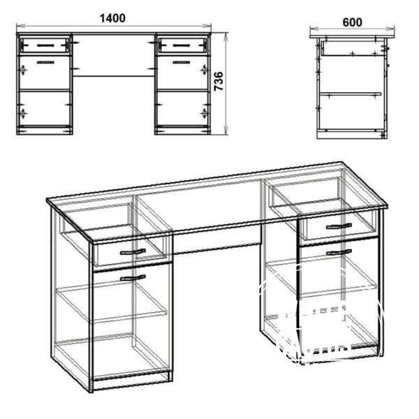 Uchitel 2 Eskiz 600x600 - Стол письменный Учитель 2