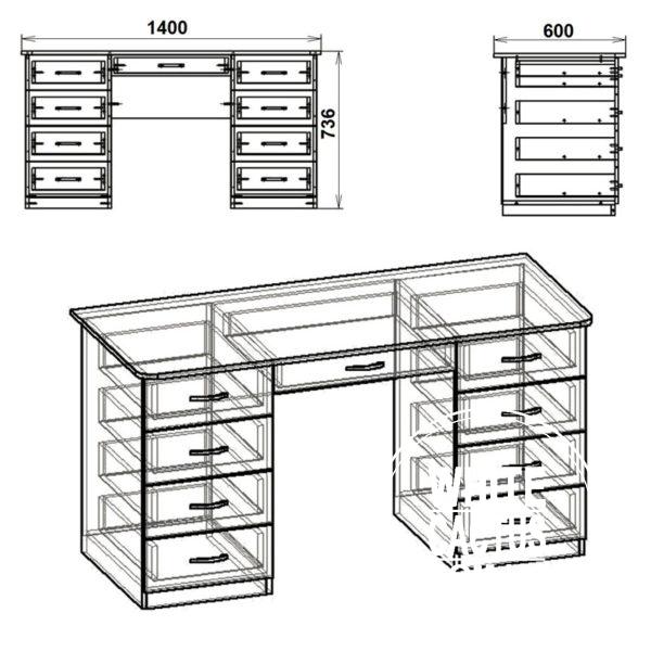 Uchitel 3 Eskiz 600x600 - Стол письменный Учитель  3