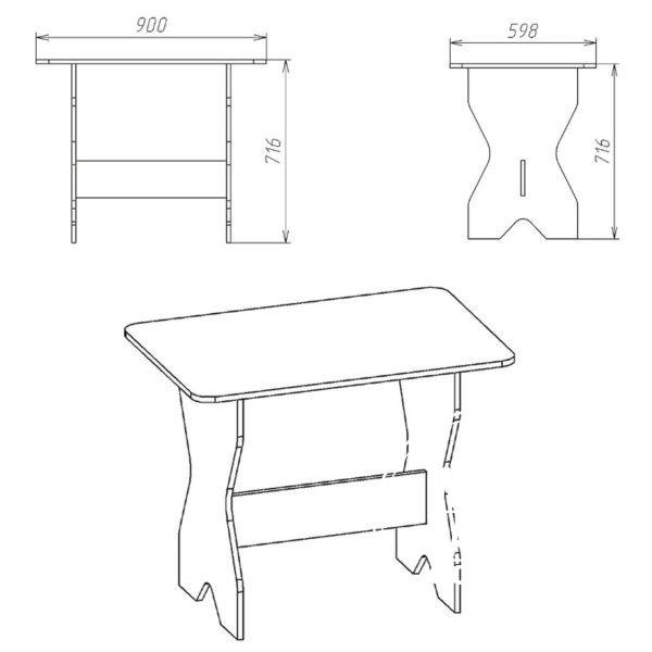 ks1 eskiz 600x600 - Стол кухонный КС 1